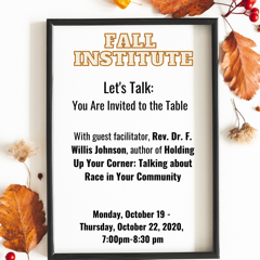 Join Dr. Johnson for Fall Institute